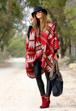 Red-Printed-Poncho-Outfit-Idea
