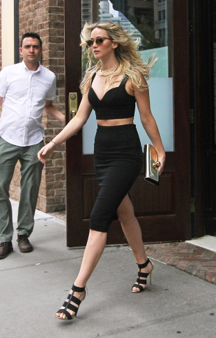 Jennifer Lawrence steps out looking beautiful in a black crop top and matching skirt in Tribeca, NYC. Pictured: Jennifer Lawrence Ref: SPL1064535 280615 Picture by: Said Elatab/Splash News Splash News and Pictures Los Angeles: 310-821-2666 New York: 212-619-2666 London: 870-934-2666 photodesk@splashnews.com